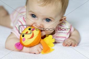 Baby girl and monkey