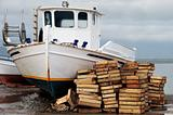 Laid out fishing boat