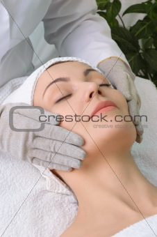 beauty salon series. facial massage