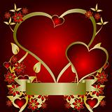 Red and Gold Valentines Hearts Vector Background