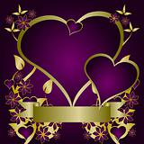 Purple and Gold Valentines Day Illustration