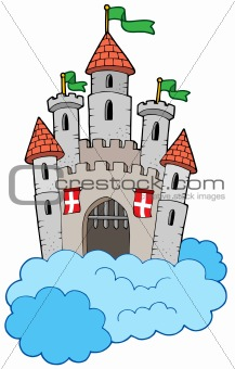 Medieval castle on clouds