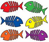 Various colors fishbones