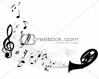 abstract music background with different notes and wind instrument