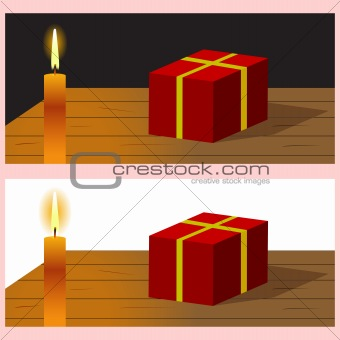 Candle with present