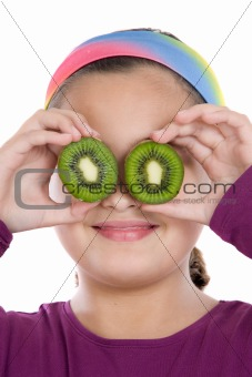 Attractive girl with kiwi