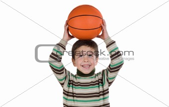 Adorable boy student with basketball