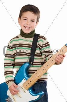 Adorable child playing electric guitar