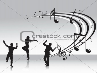 black dancing people and music background