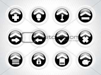 black rounded icons for multiple use