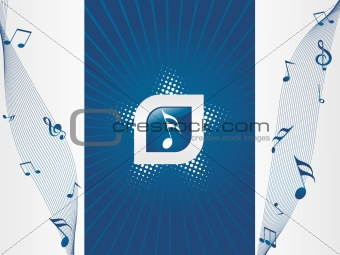 blue abstract with notes illustration