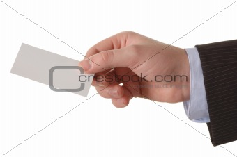 businessman  hand with a empty business card over white