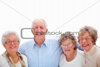 Group of old people standing on white