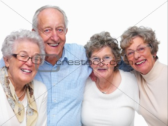 Portrait of older friends smiling happily