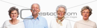 Portrait of old people on white background