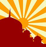 Vector illustration of mosque in sunset