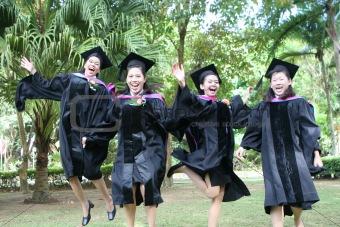 Beautiful Asian university graduates