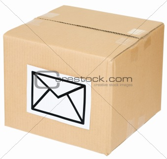 Cardboard box with a mail sign