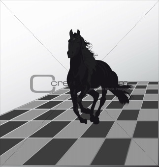 Attack by a black horse