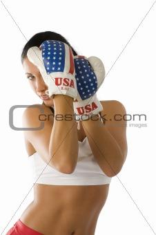 boxing woman in guard