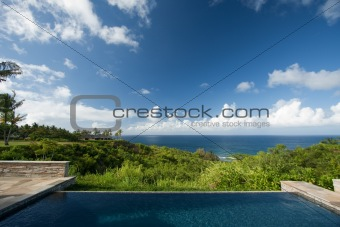 Breathtaking Hawaiian Ocean View Deck and Pool with Deep Blue Sky