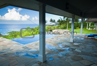 Breathtaking Hawaiian Ocean View Deck and Pool with Deep Blue Sky
