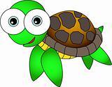 Cute Looking Happy Sea Turtle