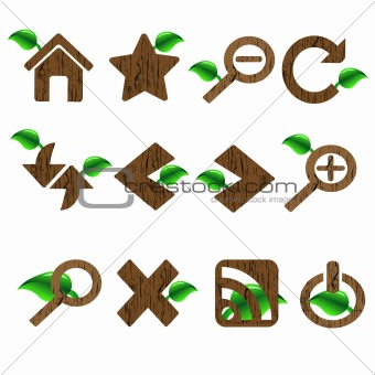 Green wood and leave themed Web Icon