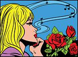 Pop art girl listening to music