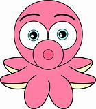 Cute Looking Pink Cartoon Octopus