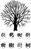 tree vector with chinese calligraphy