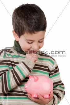 Adorable child thinking what to buy with their savings