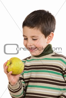 Adorable boy with a apple