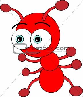 Image description: illustration of a cute little red ant