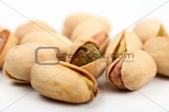 Group of pistachio nuts