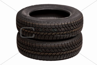 Two car tires isolated