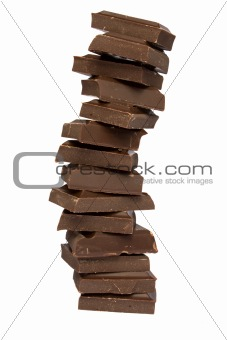 Tower from chocolate fragments