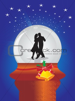 blue background with shining stars and dancing couple in glass ball