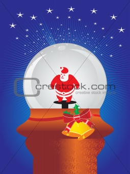 blue background with shining stars and santa claus in glass ball