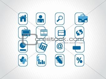 blue icons set for website