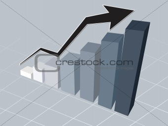 business graph with black arrow showing profits and gains on grey background, wallpaper