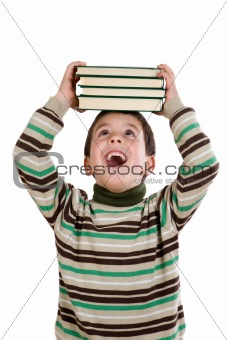 Adorable child with many books on the head