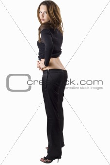 the sexy young beauty woman in a black suit. Isolated