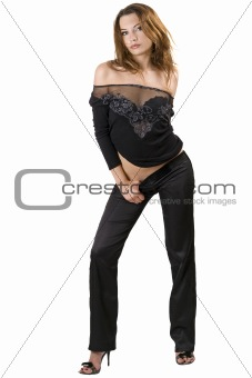 the sexy young beauty woman in a black suit. Isolated 3