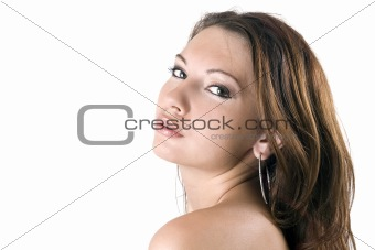 portrait of the young beauty woman. Isolated on white 10