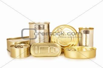 Assortment of golden food tin can
