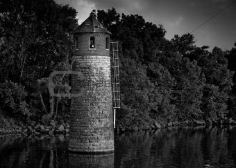 Cumberland River Lighthouse Black and White