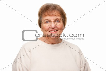 Beautiful Senior Woman Portrait Isolated on a White Background.