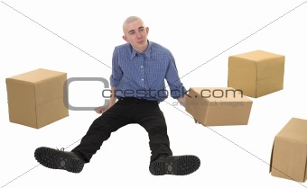 Man and pile cardboard