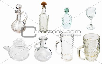 A transparent glass carafe